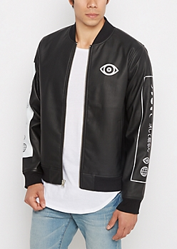 Geo Washed Faux Leather Bomber