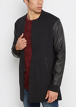 Black Vegan Leather Sleeve Car Coat