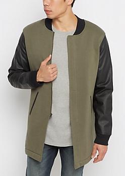 Olive Vegan Leather Sleeve Car Coat
