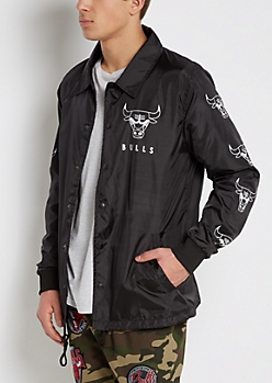 Black Chicago Bulls Coaches Jacket