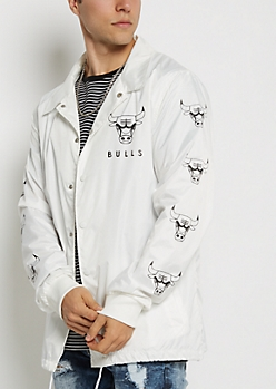 White Chicago Bulls Coaches Jacket