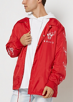 Red Chicago Bulls Coaches Jacket