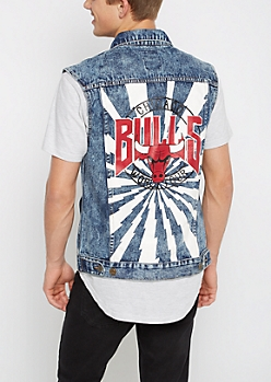 Chicago Bulls Washed & Patched Jean Vest