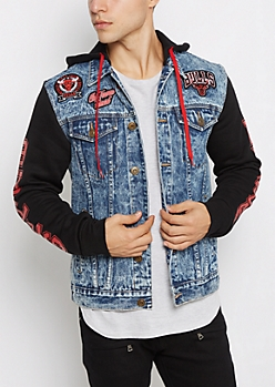 Chicago Bulls Patched Jean Jacket