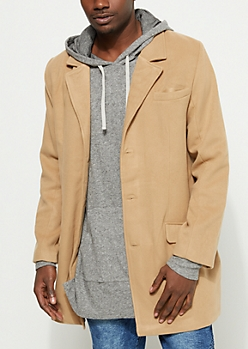 Faux Wool Button Down Coat