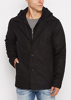 Black Jersey Hooded Wool Peacoat