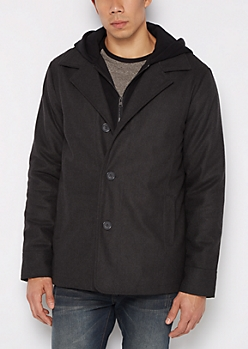 Charcoal Jersey Hooded Wool Peacoat