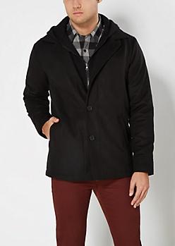 Black Hooded Wool Blend Coat