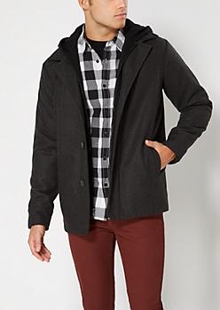 Charcoal Gray Hooded Wool Blend Coat