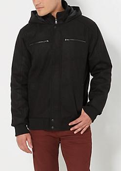 Woolen Hooded Bomber Jacket