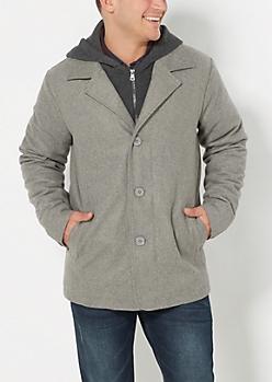 Gray Woolen Hooded Bomber Jacket