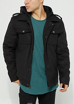 Black Hooded Wool Anorak Coat