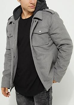 Gray Hooded Wool Blend Coat