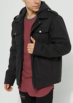 Charcoal Gray Hooded Wool Anorak Coat