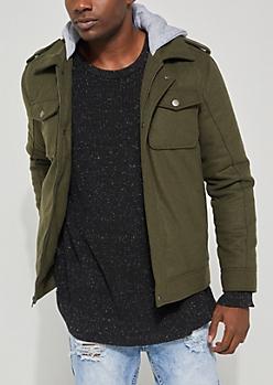 Olive Hooded Wool Anorak Coat