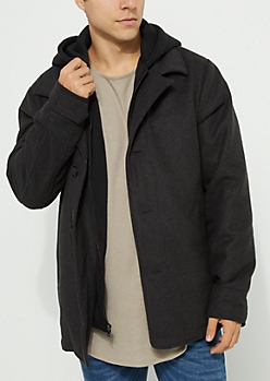 Charcoal Gray Hooded Button Up Coat