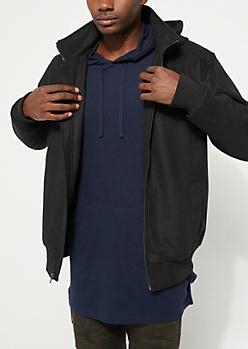 Black Wool-Blend Zip-Front Coat