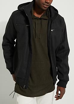 Charcoal Gray Wool-Blend Zip-Front Coat