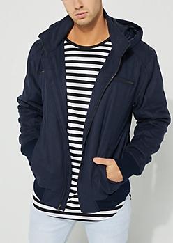 Navy Wool-Blend Zip-Front Coat