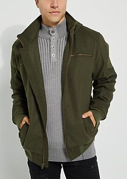 Olive Wool-Blend Zip-Front Coat