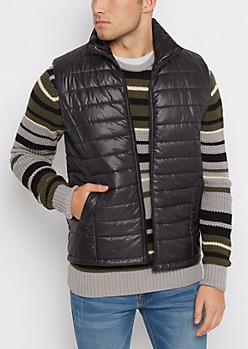 Black Packable Puffer Vest