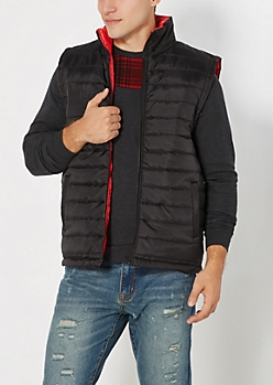 Black Quilted Red Lined Puffer Vest