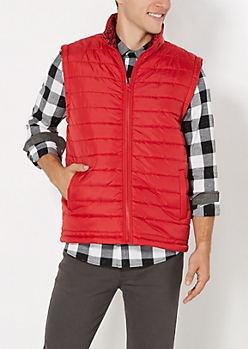 Red Quilted Elephant Lined Puffer Vest