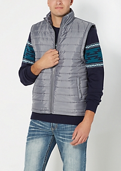 Gray Quilted Paisley Lined Puffer Vest