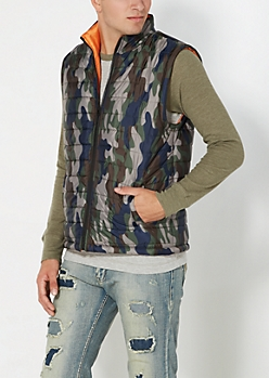 Camo Quilted Orange Lined Puffer Vest