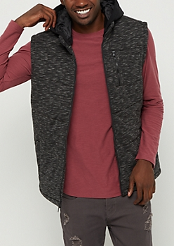 Marled Knit Hooded Vest