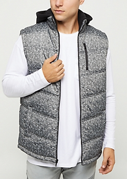 Marled Nylon Hooded Puffer Vest