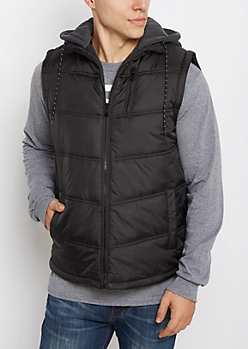 Black Knit Hooded Puffer Vest