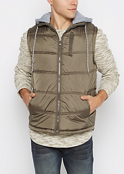 Dark Olive Knit Hooded Puffer Vest