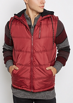Burgundy Knit Hooded Puffer Vest