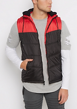 Red Color Block Hooded Puffer Vest
