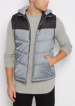 Gray Color Block Hooded Puffer Vest