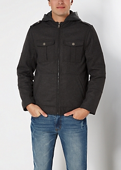Charcoal Hooded Wool Utility Coat