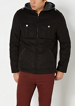 Black Hooded Wool Utility Coat