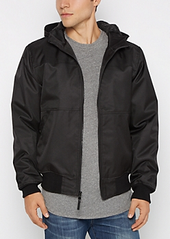 Black Heavy Twill Hooded Bomber
