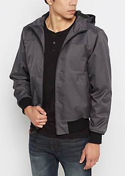 Charcoal Heavy Twill Hooded Bomber
