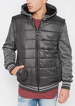 Charcoal Marled Knit Puffer Jacket