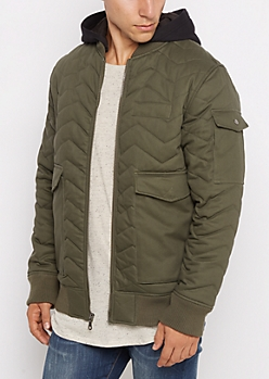 Quilted Hooded Twill Bomber