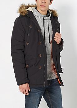Black Faux Fur Hooded Anorak