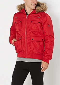 Red Ripstop Hooded Anorak
