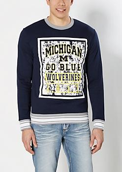 Michigan Go Blue Splattered Sweatshirt