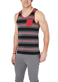 Red & Gray Striped Accent Pocket Tank
