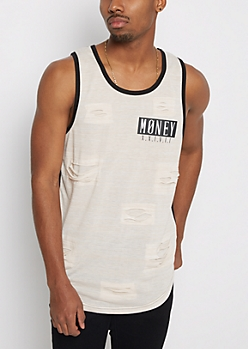 Money Torn Space Dyed Tank Top