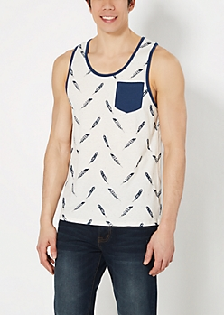 Feather Speckled Pocket Tank Top