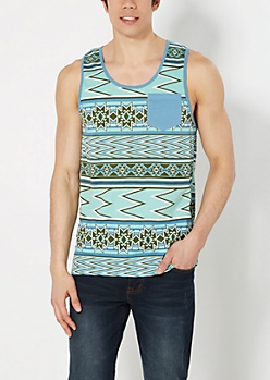 Mint Aztec Pocket Tank Top