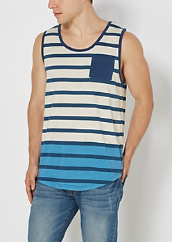 Blue Striped Long Length Tank Top